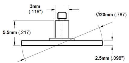 3mm x 30mm CMM Ruby Stylus Carbide Stem M3 Threads