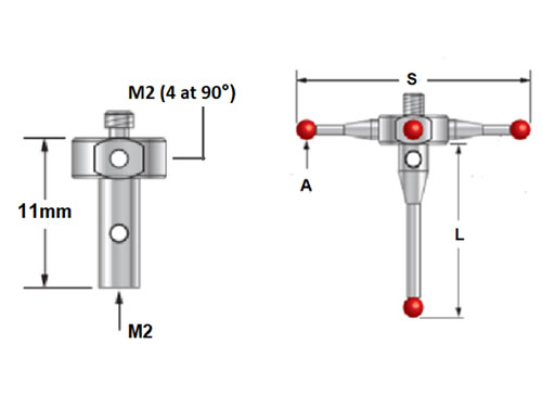 M2 CMM Stylus Styli  2.0mm Ruby Ball 10mm Length A-5000-7807