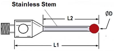 Straight Styli Stainless Stem